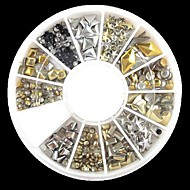 240PCS Nail Art Mixed Rivet Shapes Acrylic Rhinestone(Random Pattern)