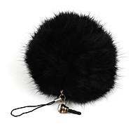 králičí kožešiny míč přívěšek / telefon řetěz / telefon proti prachu konektor černý (1ks)