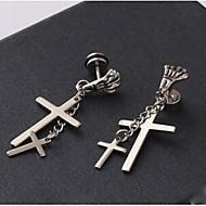 Druppel oorbellen Kostuum juwelen Titanium Staal Kruisvorm Doodshoofdvorm Sieraden Voor Bruiloft Feest Dagelijks Causaal Kerstcadeaus