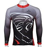 PALADIN אופנייים/רכיבת אופניים ג'רזי / צמרות לגברים שרוול ארוך נושם / עמיד אולטרה סגול / ייבוש מהיר 100% פוליאסטר אנימציה / חיה שחורS / M
