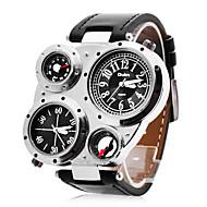 gepersonaliseerde modieuze mannen horloge militaire multifunctionele dual tijdzones kompas en thermometer