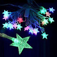 5w 28 주도의 3 모드 RGB 다채로운 오각형 크리스마스 조명 문자열 (220V / 2 라운드 핀 플러그)