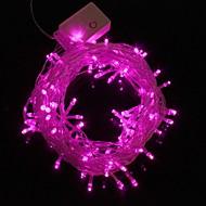 Lámpara de la luz de tira de luz de color rosa 9.6W 10m navidad destello 100 liderada por (enchufe de la UE, ac 220v)