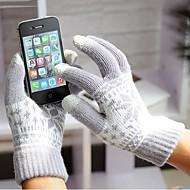 unisex 3-finger kapacitiv skærm rørende strikning vinter varme handsker til iPhone 6 / iPad og andre (assorterede farver)