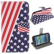 Για Samsung Galaxy Θήκη Πορτοφόλι / Θήκη καρτών / με βάση στήριξης / Ανοιγόμενη / Με σχέδια tok Πλήρης κάλυψη tok Σημαία Συνθετικό δέρμα