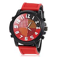 grosse montre cadran silicone de mode bande de quartz ronde hommes (couleurs assorties)