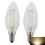 2 pcs E12 2 W 1 High Power LED 400LM LM Warm White Candle Bulbs AC 100-240 V