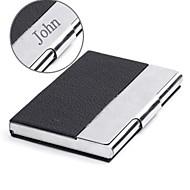 couro preto personalizado e caso do cartão de aço inoxidável