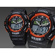 OHSEN® Men's Black Round Watch Dial Silicone Band Japan Movement Fashion Diving Sport Watch Wristwatch(Assorted Colors) Cool Watch Unique Watch