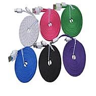 300cm høj hastighed kvalitet farverige nylon vævet fladt Universal USB Ladekabel til Samsung Galaxy S3 / S4