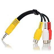 3,5 мм до 3-RCA женский пр кабель с адаптером - черный + желтый + белый + красный (16см)
