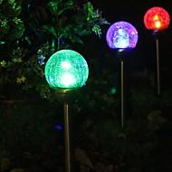 Set di 2 Cambiare colore solare Crackle Glass Ball palo lampada della luce da giardino