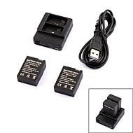 intelligente caricabatterie 2 slot + 2 301 batterie 300mAh viaggiare impostati per GoPro Hero 3/3 +
