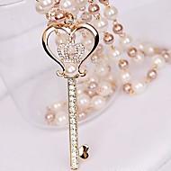 μικρό διαμάντι στέμμα κλειδί μαργαριταρένιο κολιέ αγάπη των γυναικών