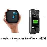 [iPhone 4 Wireless Charger Set] Qi Wireless Charger Pad and Wireless Receiver Case for iPhone 4/4S