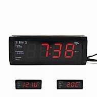 3 in 1 Auto Digitaluhr mit Voltmeter und Thermometer für 12V / 24V