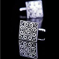 Toonykelly Fashion Men's Silver Black Enamel Copper Cufflink(Silver)(1 Pair)