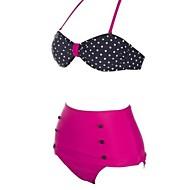 das mulheres sexy dois tons fashion dot cintura alta biquíni definido swimwear swimsuit beachwear