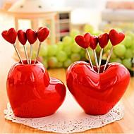 szív alakú rozsdamentes acél gyümölcs villa, rozsdamentes acél 7,5 × 7,5 × 6,5 cm (3,0 × 3,0 × 2,6 inch) random típusú