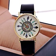 Women's Watch Vintage Peacock Feathers Quartz PU Band(Assorted Colors)