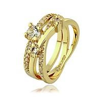 Pierścionki dla par Kamienie zodiakalne Kryształ Kryształ górski Powłoka platynowa Pozłacane 18K złoty Imitacja diamentu StopCircle Shape
