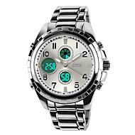 SKMEI 男性 軍用腕時計 LCD カレンダー クロノグラフ付き 耐水 2タイムゾーン アラーム クォーツ 日本産クォーツ ステンレス バンド ラグジュアリー ブラック シルバー