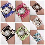 vrouwen round diamante wijzerplaat sunfllower lederen kwarts analoge mode armband horloge (verschillende kleuren) c&D152