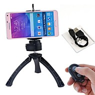Rechargeable Selfie Remote Bluetooth Shutter + Holder + Mini Tripod for IOS Android Phones and iPhone (Assorted Color)