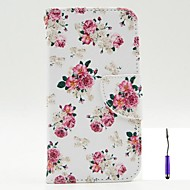 Charming Flowers Pattern PU Leather Case Cover with A Touch Pen ,Stand and Card Holder for Nokia Lumia 630