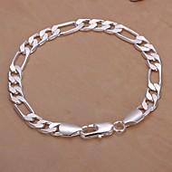 Heren Armbanden met ketting en sluiting Verzilverd Zilver Sieraden Voor Bruiloft Feest Dagelijks Causaal Kerstcadeaus 1 stuks