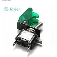 5x verde (o rojo azul /) cubierta del coche llevaron spst rockero de palanca de control del interruptor 12v 20a