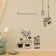 muurstickers muur stickers, eenvoudige zwarte bloempot pvc muurstickers