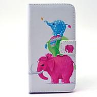 For Samsung Galaxy etui Pung Kortholder Med stativ Etui Heldækkende Etui Elefant Hårdt Kunstlæder for SamsungS6 edge S6 S5 Mini S5 S4