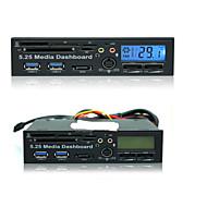 5.25 pré multifunções unidade óptica pci-e para leitor de cartão USB 3.0 + sata + lcd de temperatura duplo