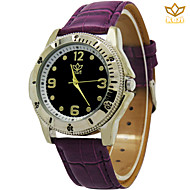 reloj de esfera redonda reloj ocasional muñeca de moda correa de reloj de cuero del cuarzo de los hombres (colores surtidos)