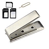 Nano SIM Card Cutter with 3-Adapter w/ Install Tool for Iphone 6 / Plus / 5S / 5 - Silver