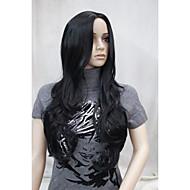 新しいファッションのない前髪側スキンパーツトップの女性の黒いロングカーリー波状のかつら