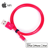 MFi Certified Lightning 8 Pin USB Sync Data / Charging Cable for iPhone 5/5S/6/6 Plus iPad air/ari2 (100cm,Red)
