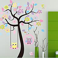 kleurrijke boom&uilen pvc muursticker