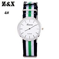 reloj raya de la manera pulsera de tela del análogo de cuarzo de los hombres (colores surtidos)