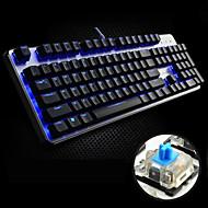 FL·ESPORTS USB Wired Blue Backlight Blue shaft Mechanical Armor GT104 Gaming Keyboard(Black)