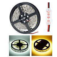 HML Dual-Row 5M Non-Waterproof 600 x 5050 SMD White/Warm White Light LED Strip Lamp with HML Mini Controller Set (12V)