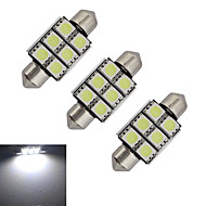 JIAWEN® 3pcs Festoon 36mm 1.5W 6x5050SMD 100-150LM 6000-6500K Cool White Light LED Car Light (DC 12V)