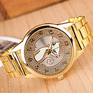 yoonheel 女性用 ファッションウォッチ ダミー ダイアモンド 腕時計 模造ダイヤモンド クォーツ 金属 バンド ゴールド