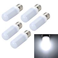 5pcs E27 10W 1000LM 6500K/3000K Frosted 56-5730 SMD Warm/Cool White Light LED Corn Bulb (AC 220~240V)