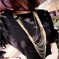 HUALUO®Europe and The United Simple Wild Multilayer Metal Tassel Long Necklace