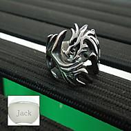 presente do dia de pai personalizado de jóias de aço inoxidável anel dos homens formato de dragão de prata