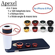 """Apexel  4 in 1 Lens Kit 12X White Telephoto Lens+Fisheye Lens+Wide-angle+Macro Camera Lens with Case for iPhone 6 4.7"""""""