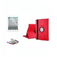 360 graden draaibare standaard lederen case Smart Cover voor ipad2 3 4 functie + screen protector + stylus