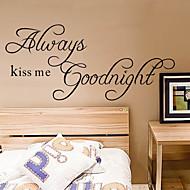 Mindig csókolj meg jóéjt quote fali matrica zooyoo2003 dekoratív adesivo de Parede kivehető falimatrica